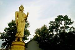 Złoto barwił dziewięć metres wysokiego Buddha wizerunku Który Khao Noi świątynny, Historyczny miejsce w Nan prowincji północny Ta zdjęcie royalty free