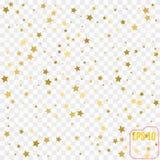 Złoto confetti gwiazdowego deszczu świąteczny wakacyjny tło Wektorowy golde obrazy royalty free
