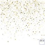 Złoto confetti gwiazdowego deszczu świąteczny wakacyjny tło Wektorowy golde Obraz Stock