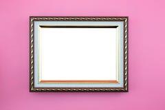 Złoto fotografii ramowa granica lub obrazek z kopii przestrzenią na różowym tle, portreta wizerunku galeria Fotografia Royalty Free