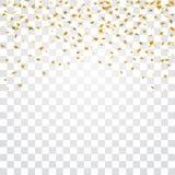 Złoto gra główna rolę spada confetti na białym przejrzystym tle Złoci abstrakcjonistyczni confetti Dekoraci błyskotanie royalty ilustracja