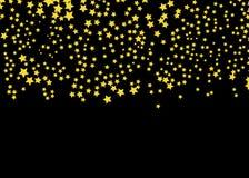 Złoto gwiazdowy wektor Połysk confetti wzór Spada Złote gwiazdy prosty ciemny tło EPS10 ilustracji