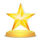 Złoto gwiazdy nagroda Błyszcząca wektorowa ilustracja Nowożytny trofeum, wyzwanie nagroda Piękny etykietka projekt odosobniony royalty ilustracja