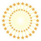Złoto gwiazdy okręgu wzoru Energetyczny wybuch Odizolowywający na Białym Backgrou royalty ilustracja
