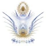 Złoto i błękitny niebiański fractal kształt royalty ilustracja