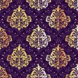 Złoto i purpurowy bezszwowy Rokokowy kwiecisty royalty ilustracja