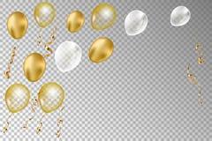 Złoto i srebro balony odizolowywający na przejrzystym tle serpentyna i ilustracja wektor