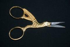 Złoto i srebro, kształtujący hafciarscy nożyce fotografia stock
