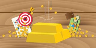 Złoto inwestuje inwestycję z złocistego baru stertą z biznesowym symbolem jako tło Obrazy Royalty Free