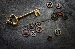 Złoto klucz z przekładniami Zdjęcie Royalty Free