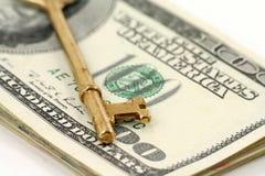 złoto klucza dolarów zdjęcie stock