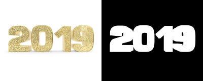 Złoto liczba 2019 dwa tysiące, dziewiętnaście na białym tle i ilustracja 3 d royalty ilustracja
