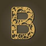 Złoto listowy b dla laserowego rozcięcia abecadło anglicy marzną lekkich fotografii obrazki bierze technologię używać był royalty ilustracja