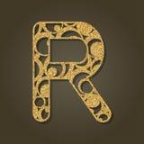 Złoto listowy R dla laserowego rozcięcia abecadło anglicy marzną lekkich fotografii obrazki bierze technologię używać był royalty ilustracja