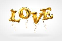 Złoto listu miłości balony Kierowi charaktery w powietrzu Dla świętowania, przyjęcia, daty, zaproszenia, wydarzenia, karty i wale royalty ilustracja