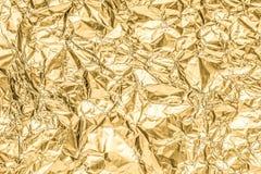 Złoto marszczący papierowy tekstura abstrakta tło Zdjęcia Royalty Free