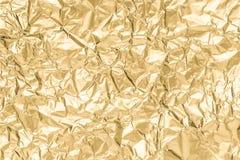 Złoto marszczący papierowy tekstura abstrakta tło Zdjęcie Royalty Free