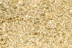 Złoto marszczący papierowy tekstura abstrakta tło Zdjęcie Stock