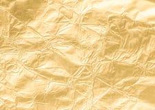Złoto marszczący papierowy tekstura abstrakta tło Obraz Royalty Free
