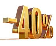 Złoto -40% Minus Czterdzieści procentów rabata znak, obraz royalty free