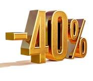 Złoto -40% Minus Czterdzieści procentów rabata znak, obrazy stock