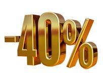 Złoto -40% Minus Czterdzieści procentów rabata znak, obraz stock