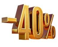 Złoto -40% Minus Czterdzieści procentów rabata znak, Zdjęcie Royalty Free