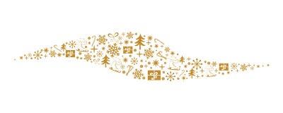 Złoto płatka śniegu falowy tło Wektorowa dekoracyjna rama robić od śniegu, prezenty, boże narodzenia, drzewo, łyżwa Obrazy Royalty Free
