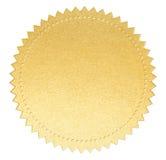 Złoto papieru foki etykietka z odosobnioną ścinek ścieżką Obraz Stock