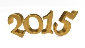 Złoto 2015 pisać list odizolowywających Obraz Stock