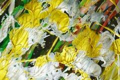 Złoto pomarańcze srebra uderzeń akwareli zielony fluid mieszająca szczotkarska farba Akwareli farby abstrakta tło obrazy royalty free