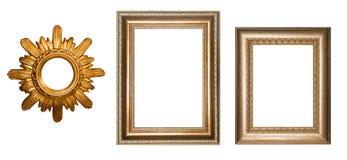Złoto rama dla obrazków kolaż 3 d formie ram trzy piękne wymiarowej ilustracji bardzo roczne Obrazy Stock