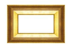 Złoto rama odizolowywająca na czarnym tle Fotografia Stock