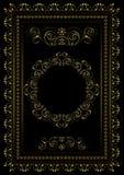 Złoto rama z granicami wirować obdziera, opuszcza i gra główna rolę z owalnym ornamentem w centrum na czarnym tle, ilustracji