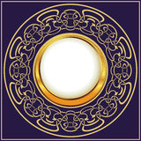Złoto rama z kwiecisty ornamentacyjnym ilustracja wektor