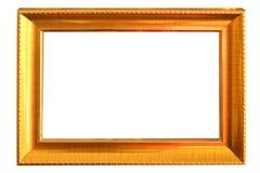 Złoto ramowa fotografia odizolowywająca na bielu Fotografia Royalty Free