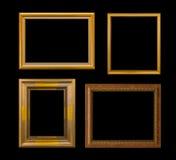 Złoto ramowy Elegancki rocznik Odizolowywający na czarnym tle Obrazy Stock