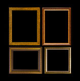 Złoto ramowy Elegancki rocznik Odizolowywający na czarnym tle Obraz Stock