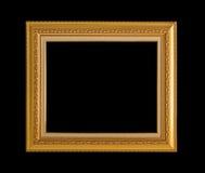 Złoto ramowy Elegancki rocznik Odizolowywający na czarnym tle Zdjęcie Royalty Free