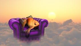 Złoto ryba odpoczywa w niebie ilustracji