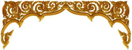 Złoto rzeźbiąca ornament ramy sztuka odizolowywająca na białym tle zdjęcie royalty free