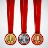 Złoto, srebro, Brązowa miejsce odznaka, medalu Ustalony wektor Realistyczny osiągnięcie Z Najpierw, Drugi, Trzeci plasowanie Roun royalty ilustracja