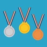 Złoto, srebro, brązowego medalu set Zdjęcie Stock