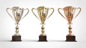 Złoto, srebro, brązowy trofeum 3D rendering Obrazy Royalty Free