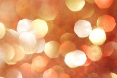 Złoto, srebro, czerwień, biel, pomarańczowy abstrakcjonistyczny bokeh zaświeca, defocused tło Zdjęcia Stock