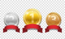 Złoto, srebro i brązowi błyszczący medale z czerwonymi faborkami odizolowywającymi na przejrzystym tle, Mistrz nagrody medali spo ilustracji