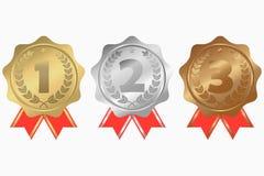 Złoto, srebro i brązowi medale z, faborku, gwiazdy i bobka wiankiem, Najpierw, drugi i na trzecim miejscu nagrody wektor Obraz Royalty Free