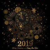 Złoto Zegarowy wskazujący odliczanie 12 O ` zegar 2019 nowy rok ` s wigilia na czarnym tle ilustracji