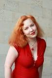 złotowłosy czerwona kobieta Obrazy Stock