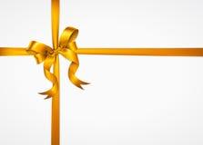Złoty łęk odizolowywający na białym tle Fotografia Stock
